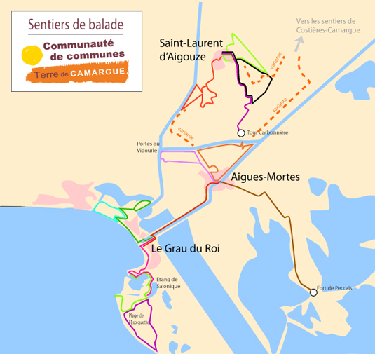 Carte des sentiers Terre de Camargue