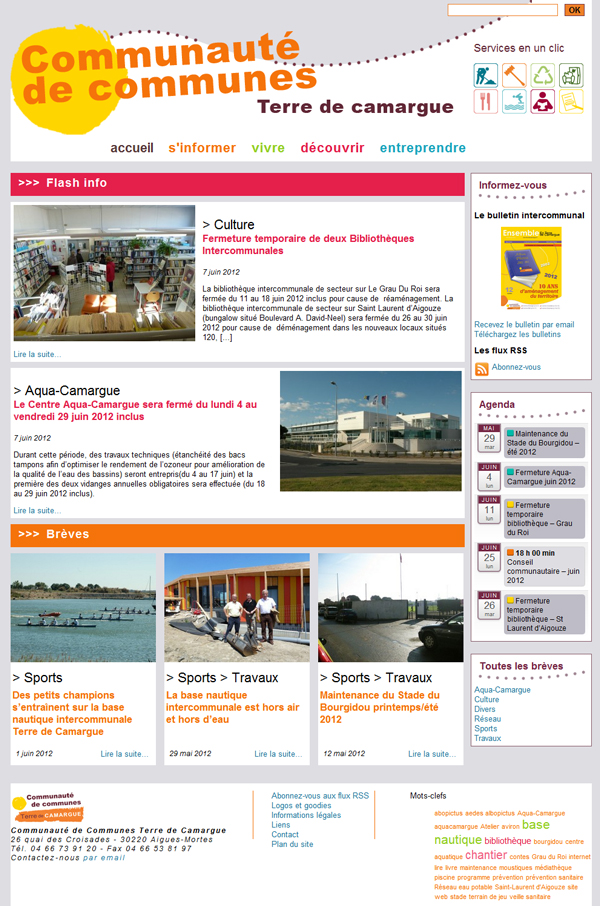 Page d'accueil de la version 2012 du site de la CCTC
