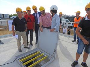 Trois surpresseurs d'air ont été installés dans le poste de refoulement pour envoyer les eaux usées de la commune dans le nouveau réseau collectif