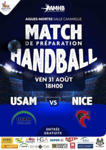 Hand : USAM contre Nice le 31 août à 18h, salle Camargue à Aigues-Mortes