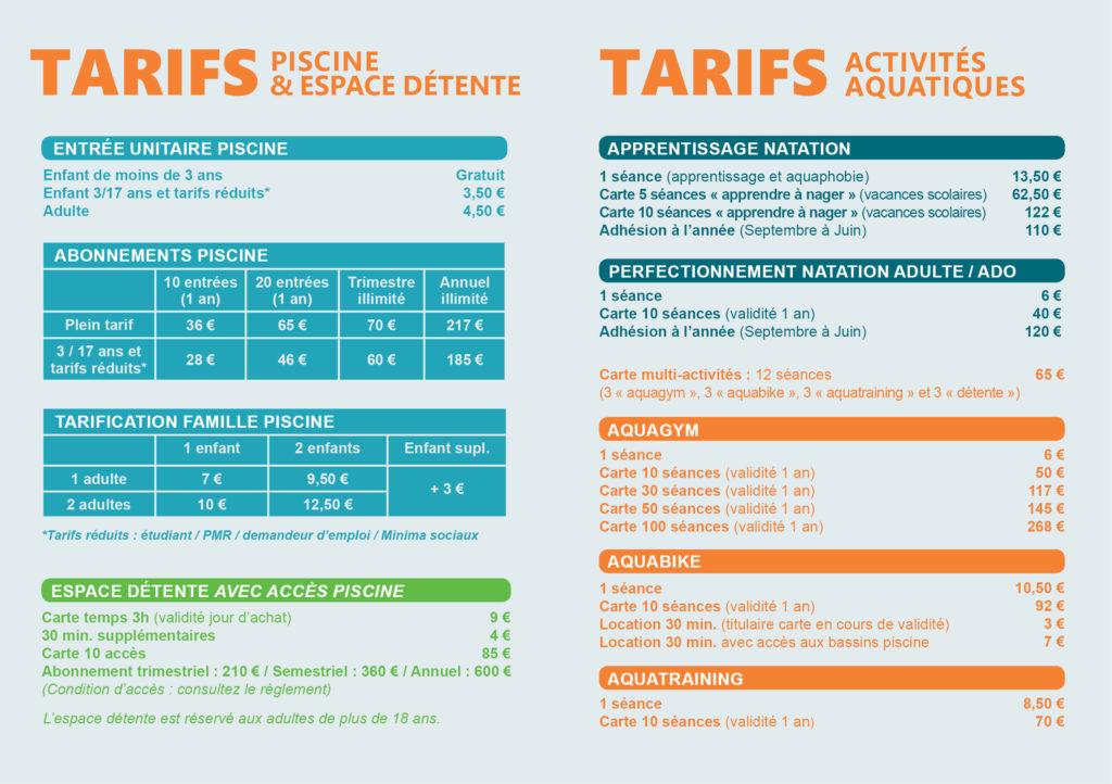 Les tarifs de la piscine Aqua Camargue septembre 2021