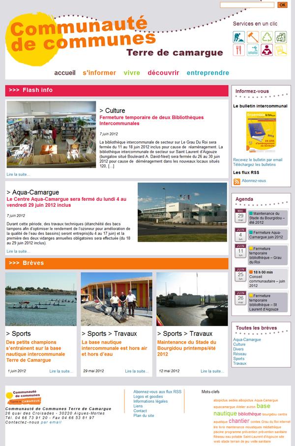 Page d'accueil de la version 2012 du site de la CCTC